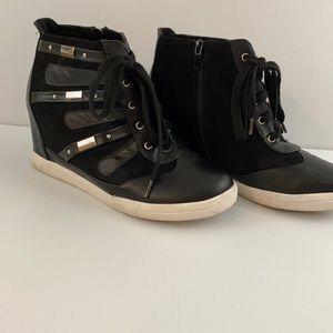 Torrid Tie Up Wedge Sneakers Boots